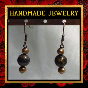 Bronzite Stone & Brown Pearl Earrings #222
